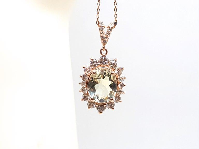 6.00 Carat Rose Gold Necklace Diamond Golden Beryl Pendant For Sale 5