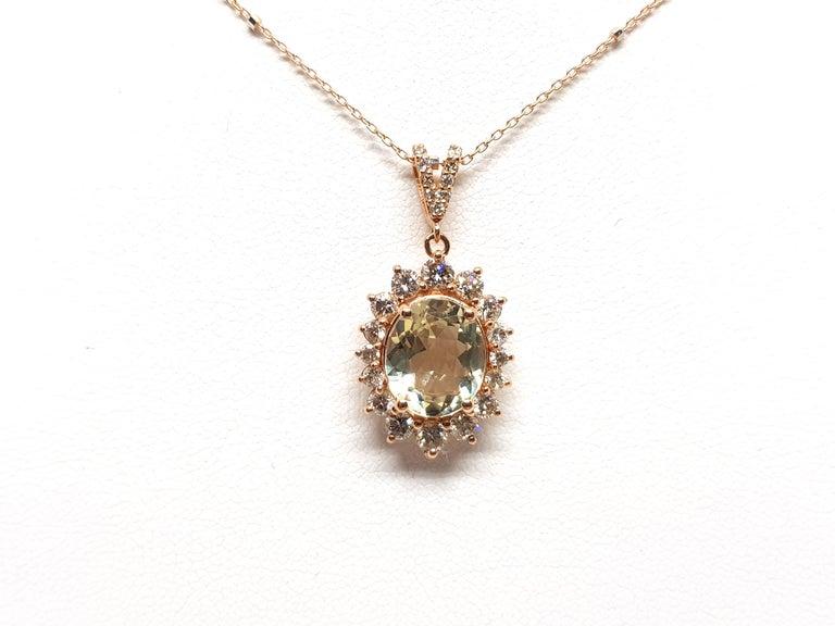 Round Cut 6.00 Carat Rose Gold Necklace Diamond Golden Beryl Pendant For Sale