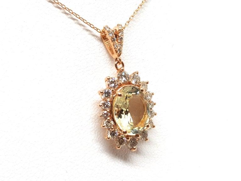 6.00 Carat Rose Gold Necklace Diamond Golden Beryl Pendant For Sale 1
