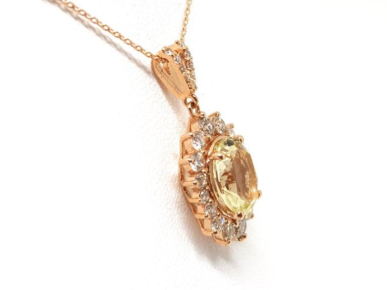 6.00 Carat Rose Gold Necklace Diamond Golden Beryl Pendant For Sale 2