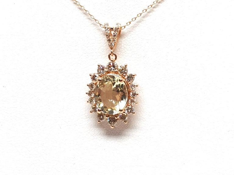 6.00 Carat Rose Gold Necklace Diamond Golden Beryl Pendant For Sale 3