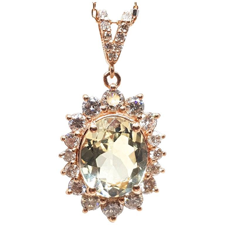 6.00 Carat Rose Gold Necklace Diamond Golden Beryl Pendant For Sale