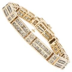 6.00 Carat Round Brilliant Diamond Bracelet 10 Karat Yellow Gold Link