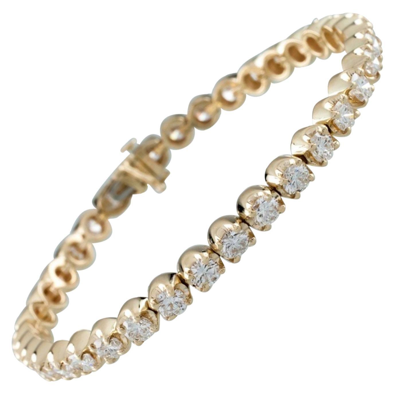 6.00 Carat Round Diamond 14 Karat Yellow Gold Tennis Bracelet