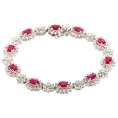 6.00 Carat Ruby and Diamond 18 Karat White Gold Tennis Bracelet