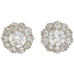 Victorian Diamond Cluster Stud Earrings Approx 11ct Total