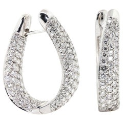 6.00 Carat Round Brilliant Diamond Hoops