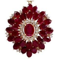 60.00 Carat Ruby 18 Karat Yellow Gold Diamond Necklace