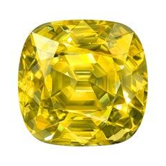 60,05 Carat Natural Srilankan Yellow Sapphire Cushion Shape GRS Certificate