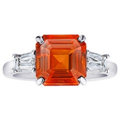 6.01 Carat Square Emerald Cut Orange Sapphire and Diamond Ring