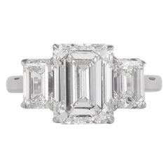 All GIA Certified 4.01 Carat with 2.00 Carat Emerald Cut Diamonds Ring 18 Karat
