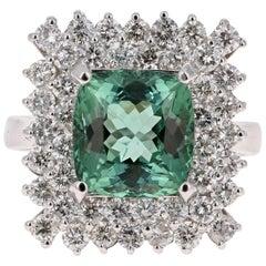 6.01 Carat Tourmaline Diamond 14 Karat White Gold Ring