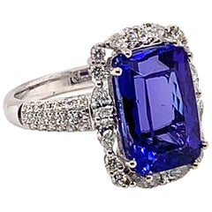 6.014 Carat Cushion Shaped Tanzanite Ring in 18 Karat White Gold with Diamonds