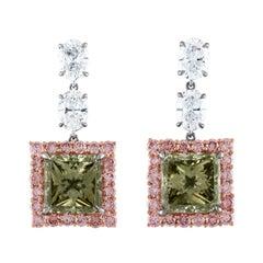 6.02 and 5.64 Carat GIA Fancy Dark Gray Greenish Yellow Diamond Earrings