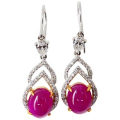 6.02 Carat Burma Ruby and Diamond Earrings