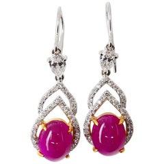 6.02 Carat Burma Ruby and Diamond Earrings