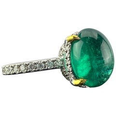 6.02 Carat Emerald Cabochon and Diamond Engagement Ring