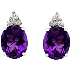 6.02 Carat Natural Amethyst 18 Karat Solid White Gold Diamond Stud Earrings