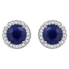 6.02 Carat Sapphire Diamond Earrings