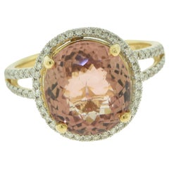 6.02 Carat Tourmaline and Diamond Engagement Ring