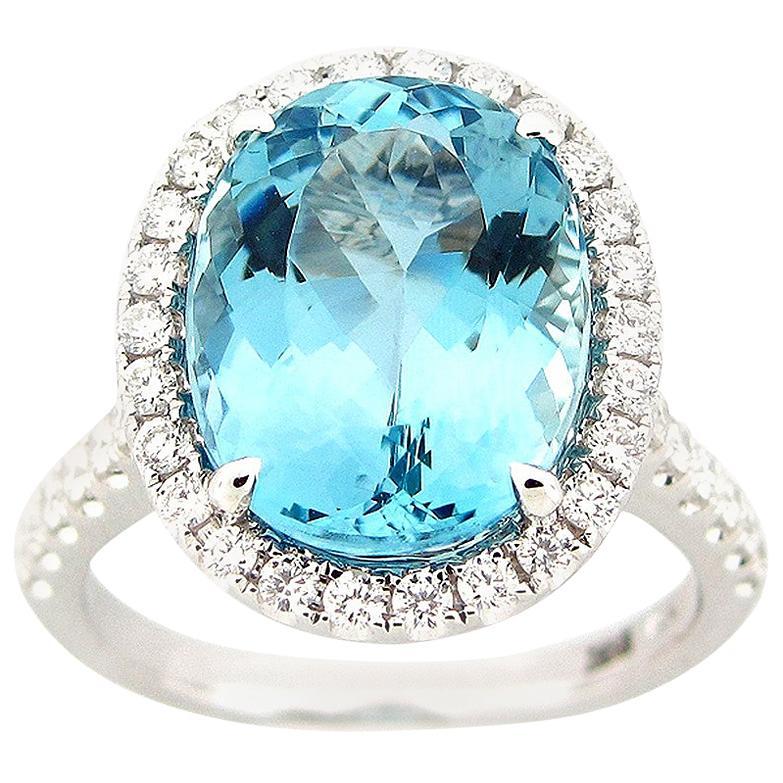 6.03 Carat Aquamarine and Diamond Ring