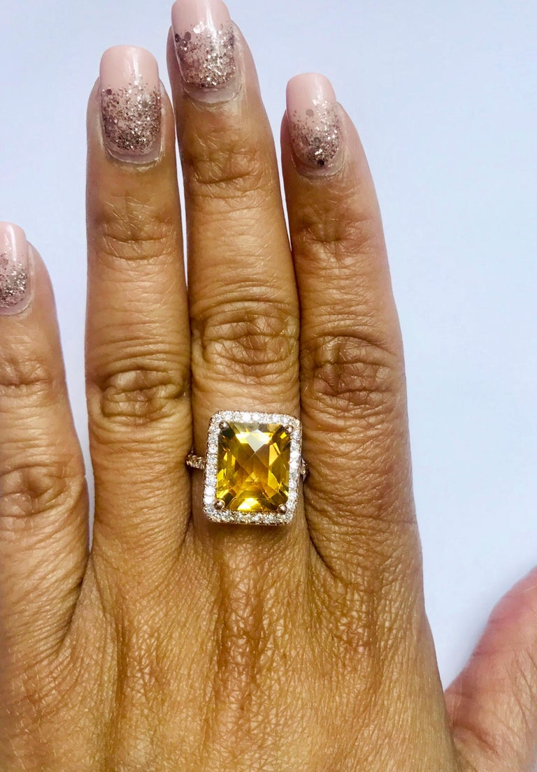 6.03 Carat Citrine Diamond 14 Karat Rose Gold Engagement Ring In New Condition For Sale In San Dimas, CA