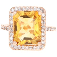 6.03 Carat Citrine Diamond 14 Karat Rose Gold Engagement Ring