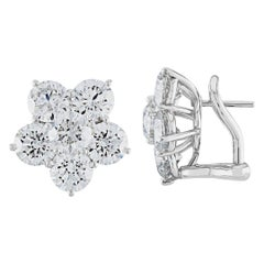 6.03 Carat Diamond Cluster Platinum Flower Earrings