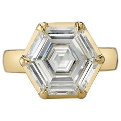 6.03 Carat Hexagonal Cut Diamond Set in a Handcrafted 18 Karat Yellow Gold Ring
