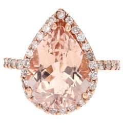 6.03 Carat Pear Cut Morganite Diamond Rose Gold Engagement Ring
