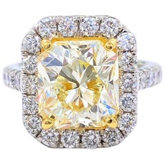 6.03 Carat Radiant Diamond Halo Platinum Engagement Ring GIA