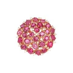 6.03 Carat Ruby Diamond 14 Karat Rose Gold Cocktail Ring