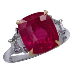 6.04 Carat AGL Certified Ruby and Diamond Ring