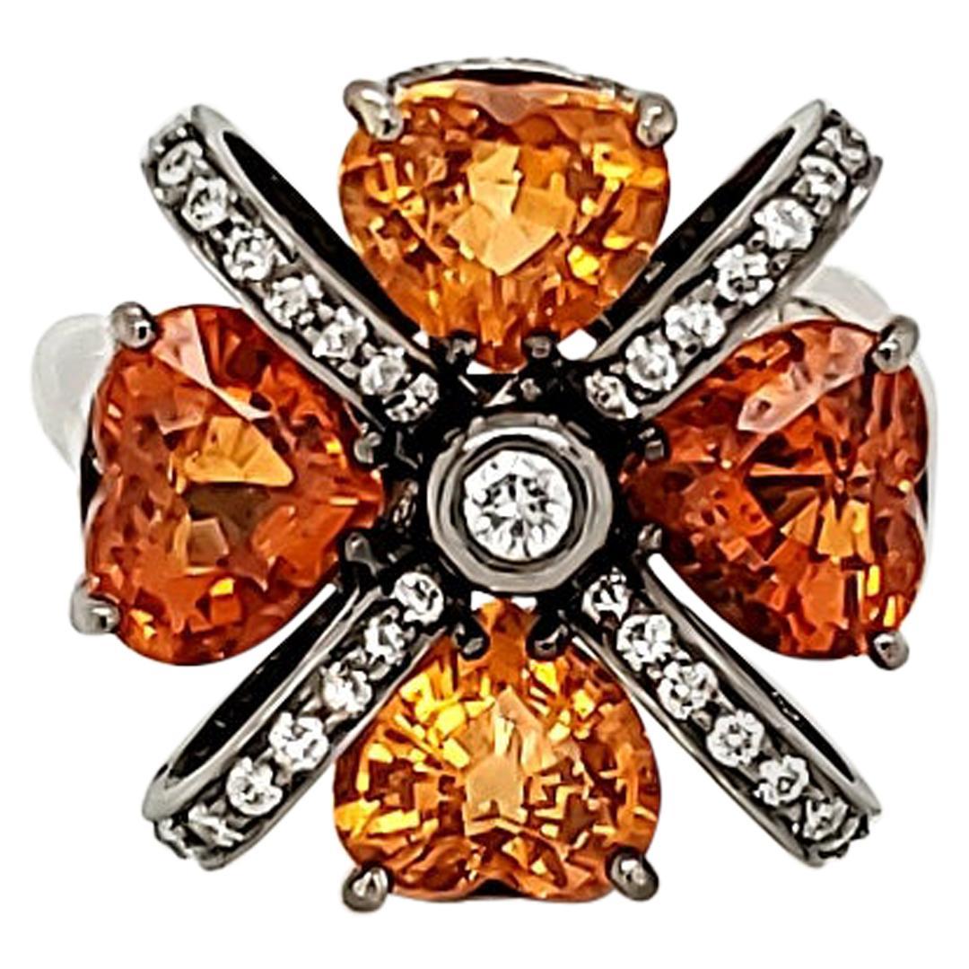 6.04 Carat Mandarin Garnet and Diamond Cocktail Gold Ring