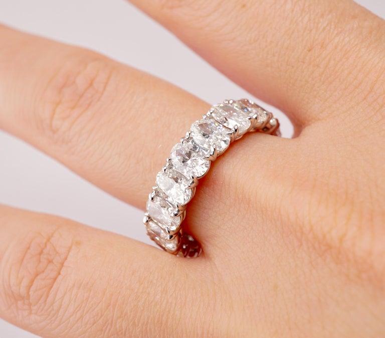 Contemporary 6.04 Carat Platinum Oval Diamond Wedding Eternity Band For Sale