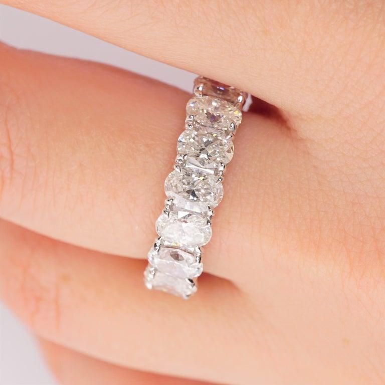 Oval Cut 6.04 Carat Platinum Oval Diamond Wedding Eternity Band For Sale