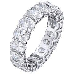 6.04 Carat Platinum Oval Diamond Wedding Eternity Band
