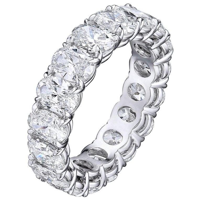 6.04 Carat Platinum Oval Diamond Wedding Eternity Band For Sale