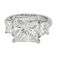 6.04 Carat Princess Cut Three-Stone Ring
