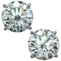 6.04 Carat Round Brilliant Cut Diamond Solitaire Stud Earrings