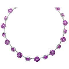 60.45 Carat Pink Sapphire & Diamond Necklace