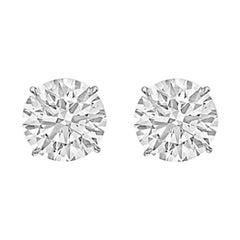 6.04tcw Round Brilliant Diamond Stud Earrings 'H/VS2'