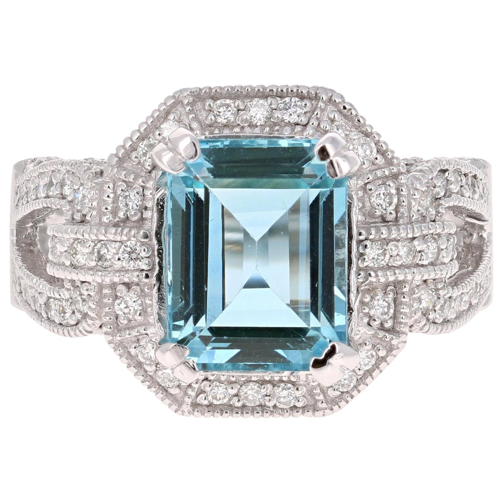 6.05 Carat Aquamarine Diamond14 Karat White Gold Cocktail Ring