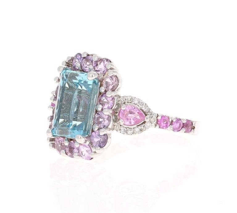 Modern 6.05 Carat Aquamarine Pink Sapphire Diamond 14 Karat White Gold Engagement Ring For Sale
