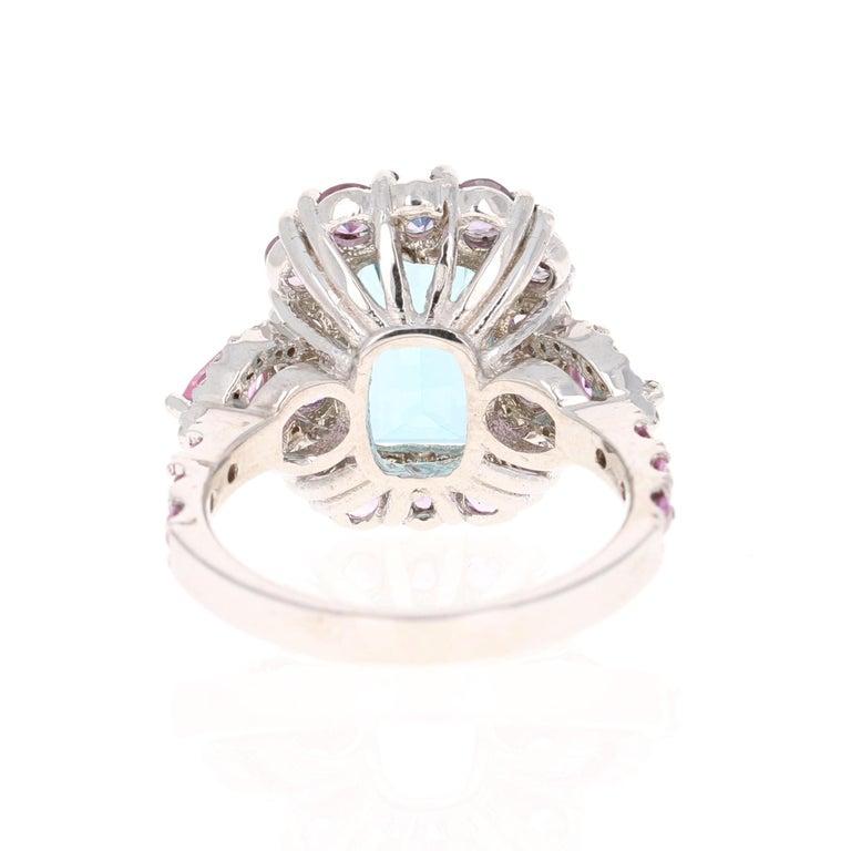 Emerald Cut 6.05 Carat Aquamarine Pink Sapphire Diamond 14 Karat White Gold Engagement Ring For Sale