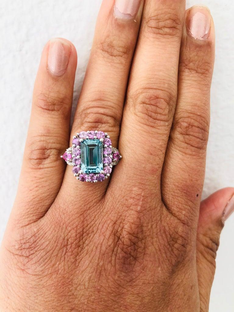 6.05 Carat Aquamarine Pink Sapphire Diamond 14 Karat White Gold Engagement Ring In New Condition For Sale In San Dimas, CA