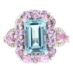 6.05 Carat Aquamarine Pink Sapphire Diamond 14 Karat White Gold Engagement Ring