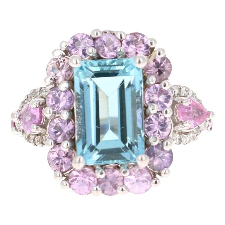 6.05 Carat Aquamarine Pink Sapphire Diamond 14 Karat White Gold Engagement Ring For Sale
