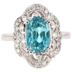 6.05 Carat Blue Zircon Diamond 14 Karat White Gold Ring