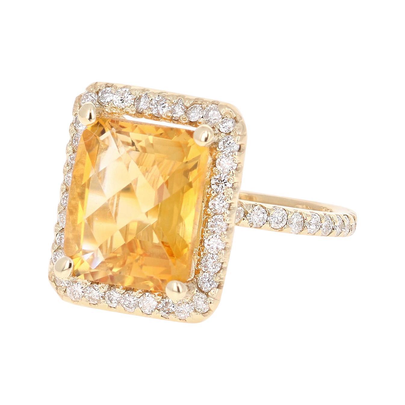 6.05 Carat Emerald Cut Citrine Diamond 14 Karat Yellow Gold Engagement Ring